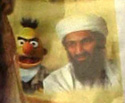 evil bert from sesame street with bin laden - close up